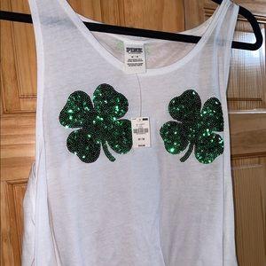 VS PINK White Shamrock Shirt - NWT